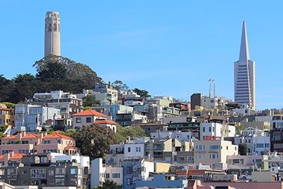 The Coit Tower and Transamerica Pyramid in San Francisco