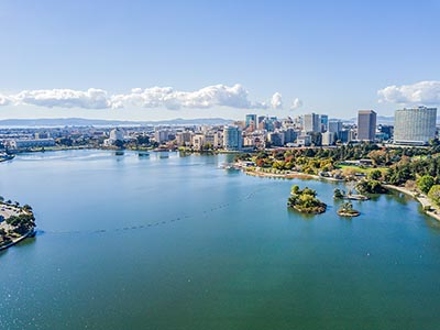 The Oakland skyline and Lake Merritt